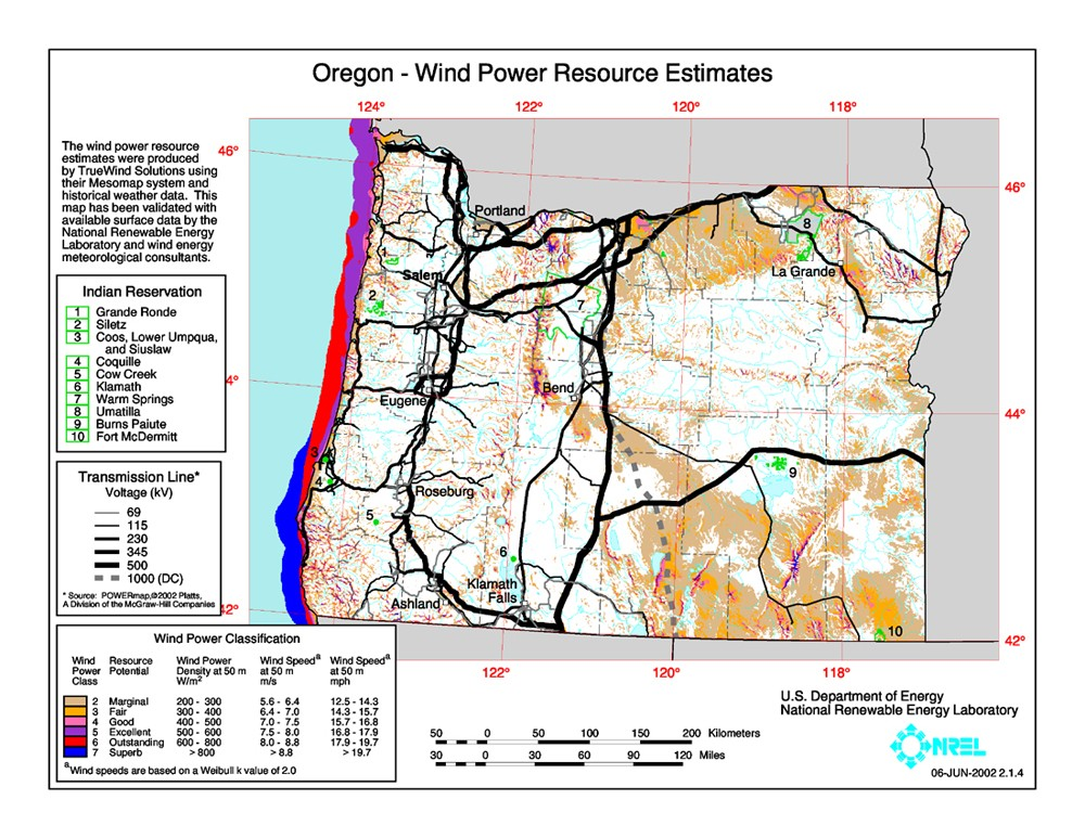 U Of Oregon Map.Windexchange Oregon 50 Meter Community Scale Wind Resource Map