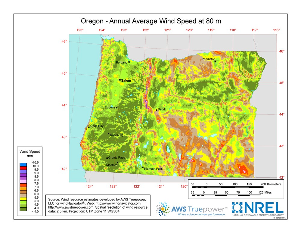 Oregon Map Image.Windexchange Oregon 80 Meter Wind Resource Map