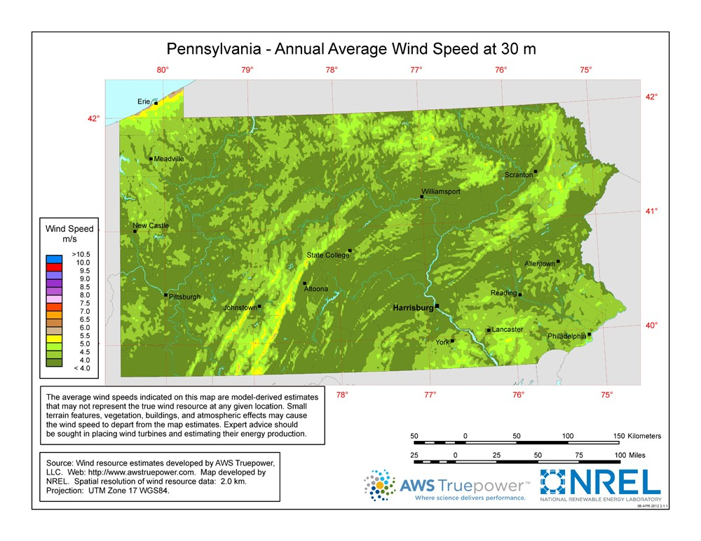 A map of Pennsylvania showing wind speeds at a 30-m height.