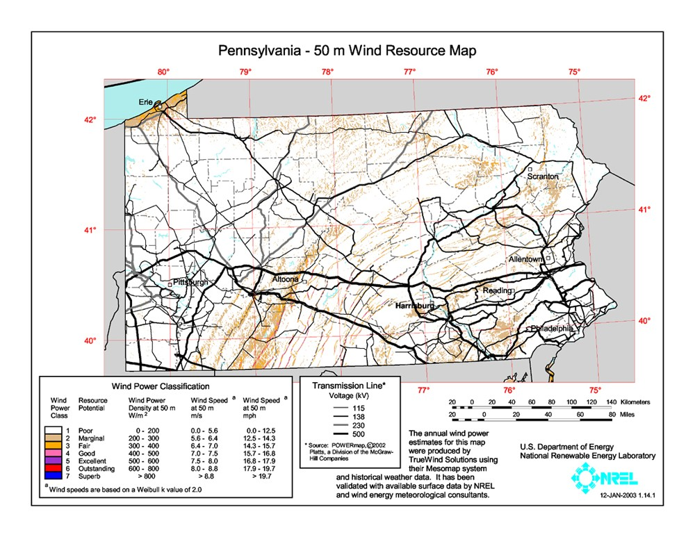 WINDExchange Pennsylvania Meter CommunityScale Wind Resource Map - Pa map