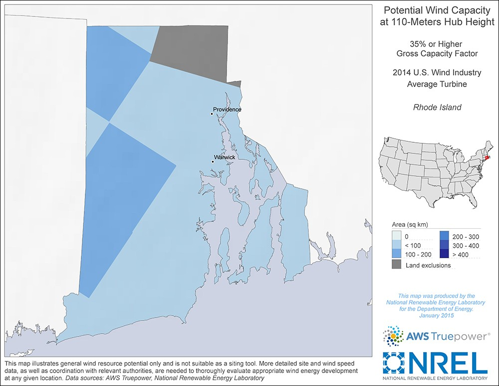 Rhode Island 110-Meter Potential Wind Capacity Map
