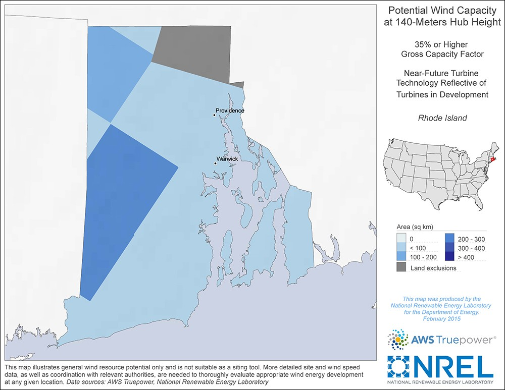 Rhode Island 140-Meter Potential Wind Capacity Map