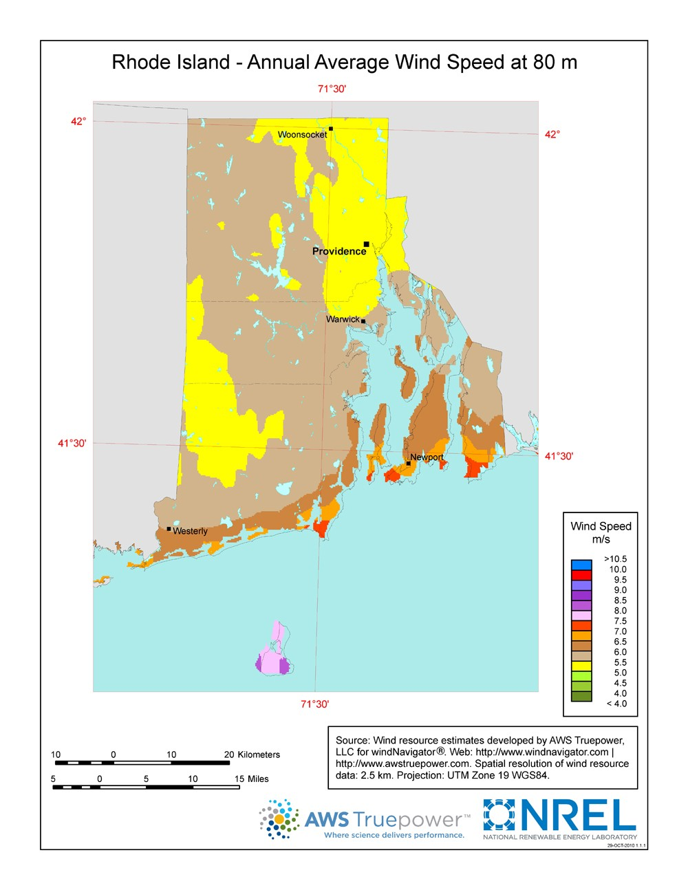 Rhode Island wind resource map.
