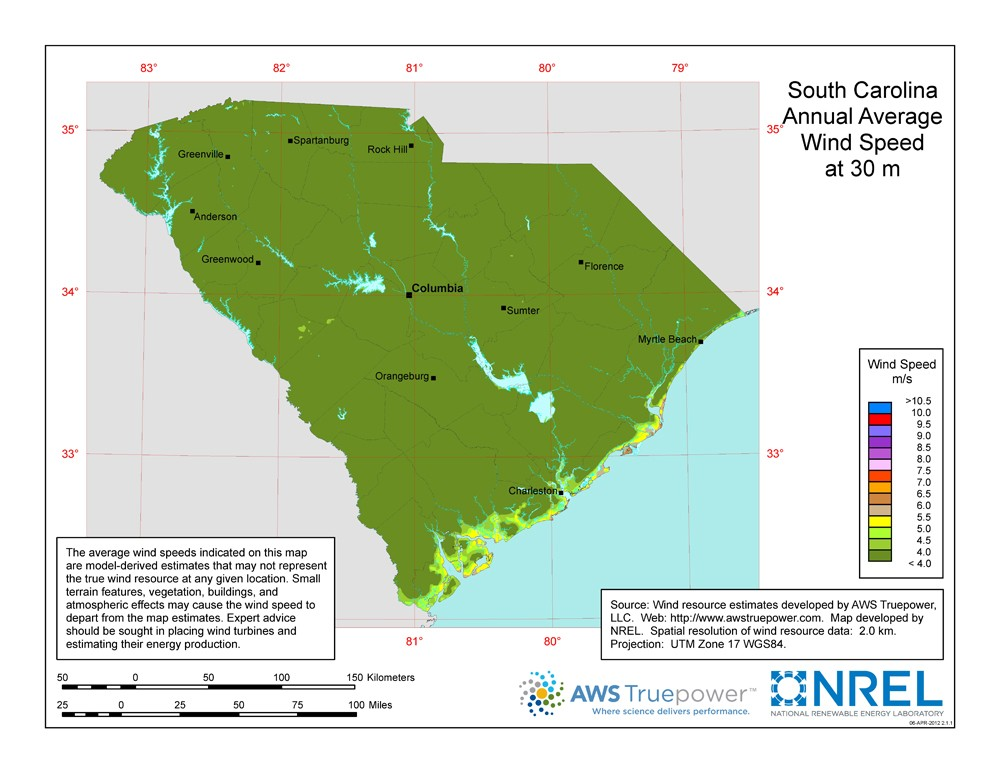 A map of South Carolina showing wind speeds at a 30-m height.