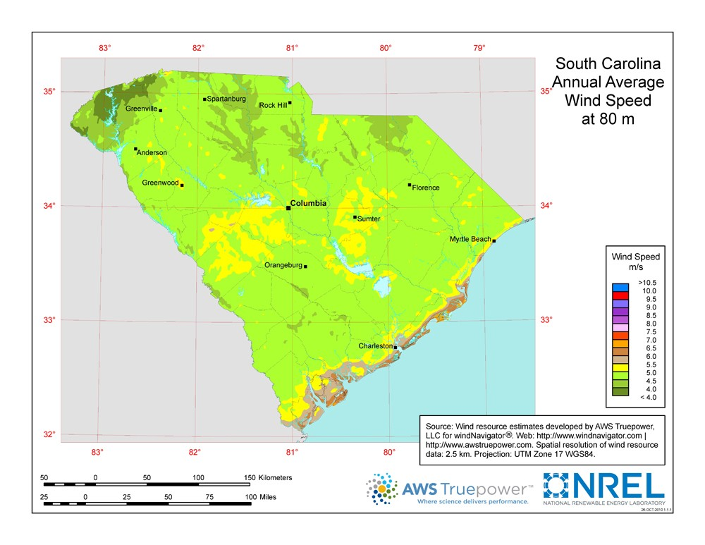 WINDExchange: South Carolina 80-Meter Wind Resource Map