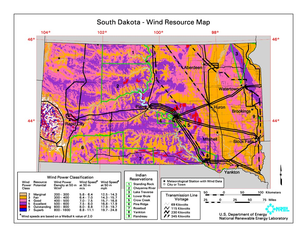 South Dakota wind resource map.