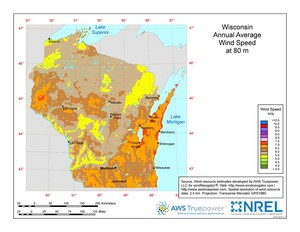Wisconsin wind resource map.