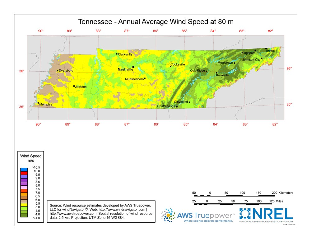 WINDExchange: Tennessee 80-Meter Wind Resource Map