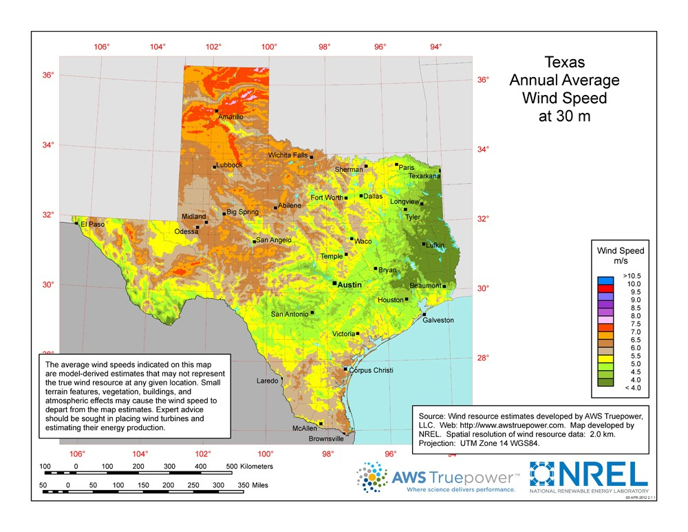 A map of Texas showing wind speeds at a 30-m height.