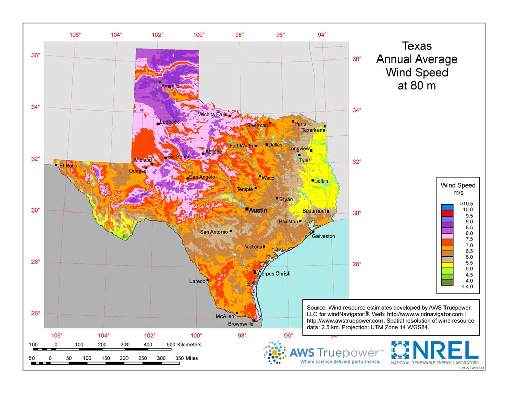 Texas wind resource map.