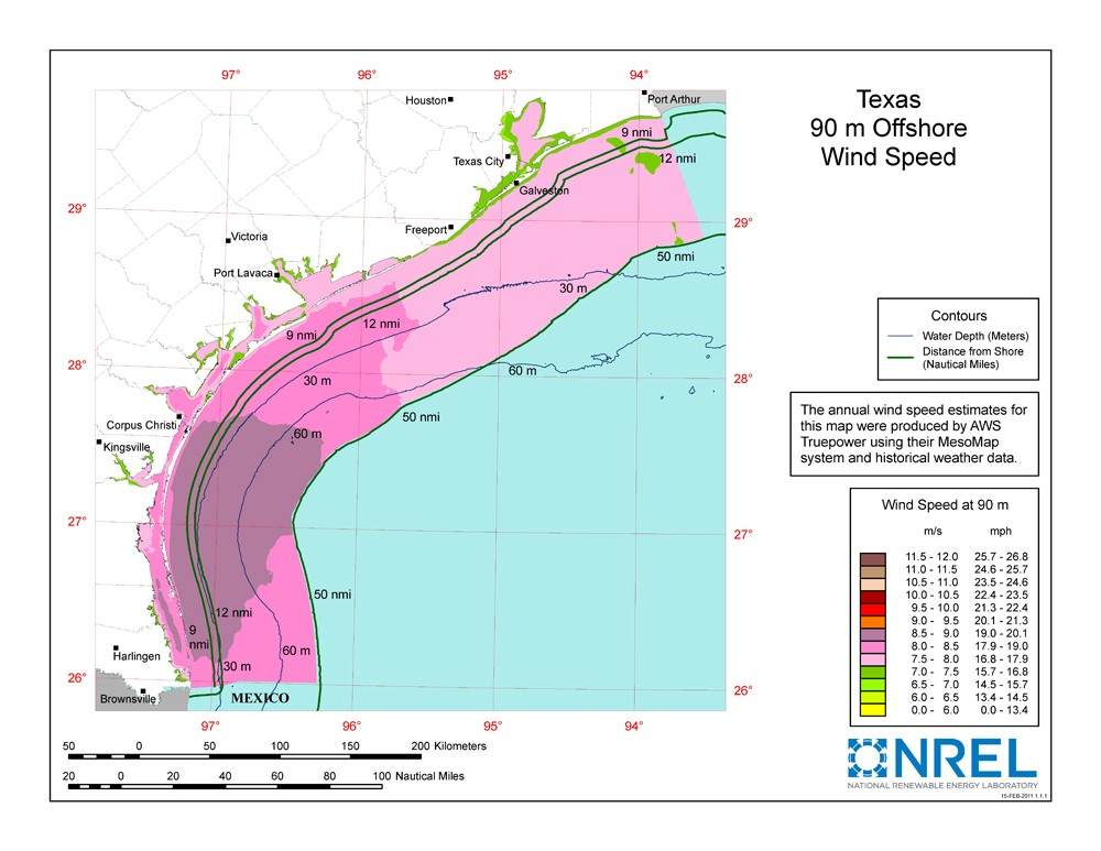 A map of Texas showing offshore wind speeds.