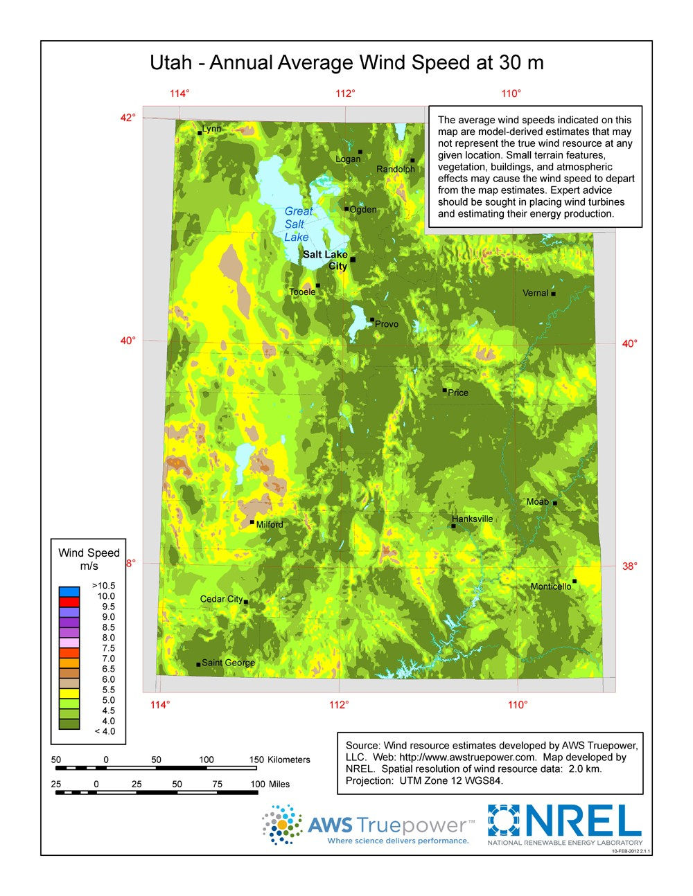 WINDExchange: Utah 30-Meter Residential-Scale Wind Resource Map
