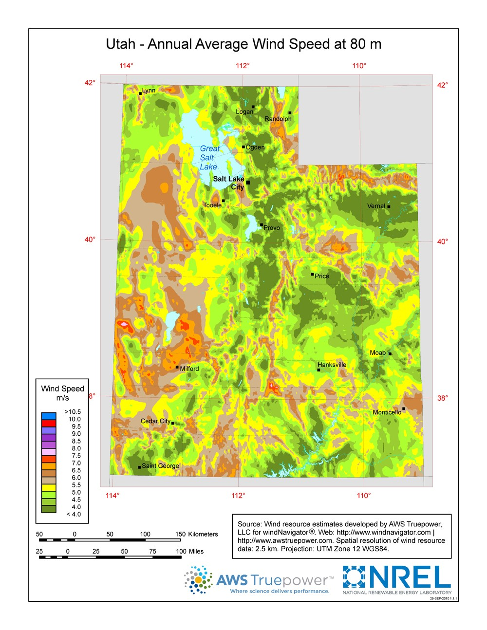 WINDExchange: Utah 80-Meter Wind Resource Map