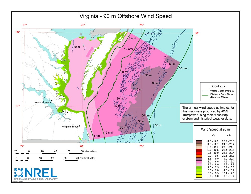 A map of Virginia showing offshore wind speeds.