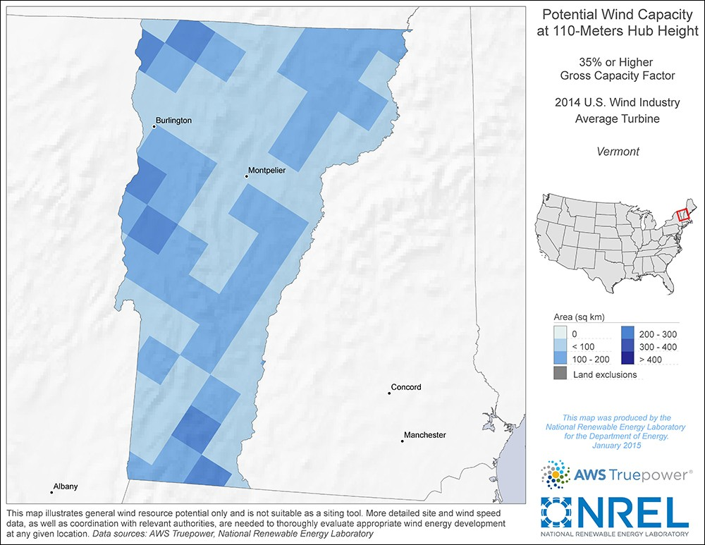 Vermont 110-Meter Potential Wind Capacity Map