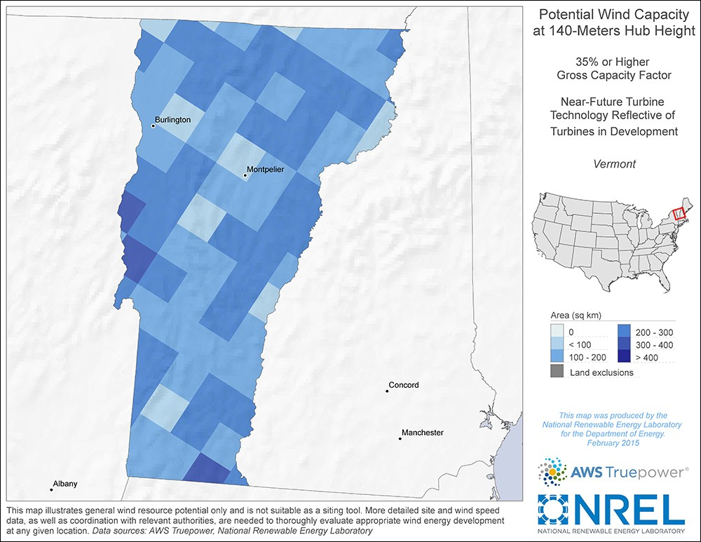 Vermont 140-Meter Potential Wind Capacity Map