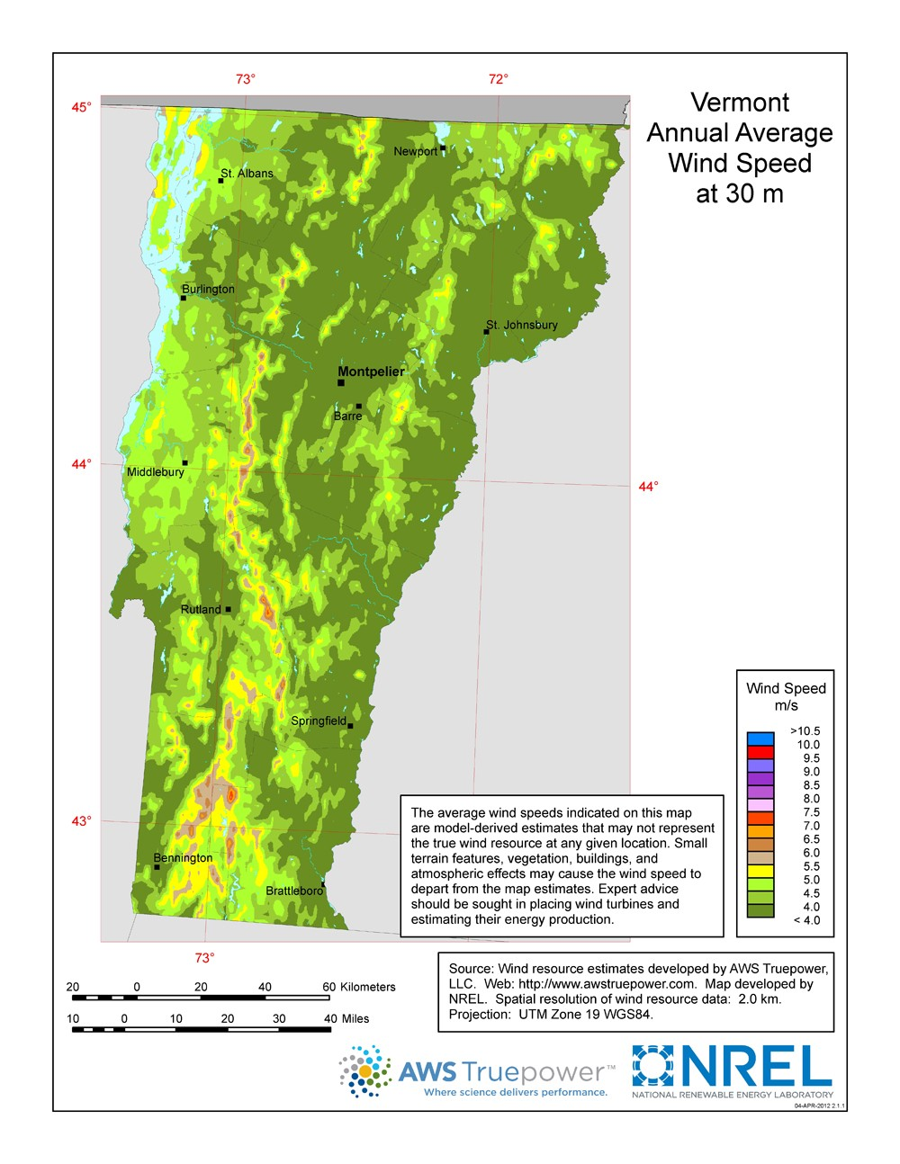 A map of Vermont showing wind speeds at a 30-m height.