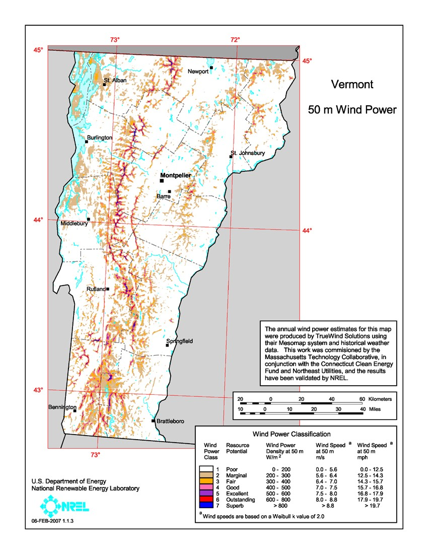 Vermont 50-Meter Community-Scale Wind Resource Map