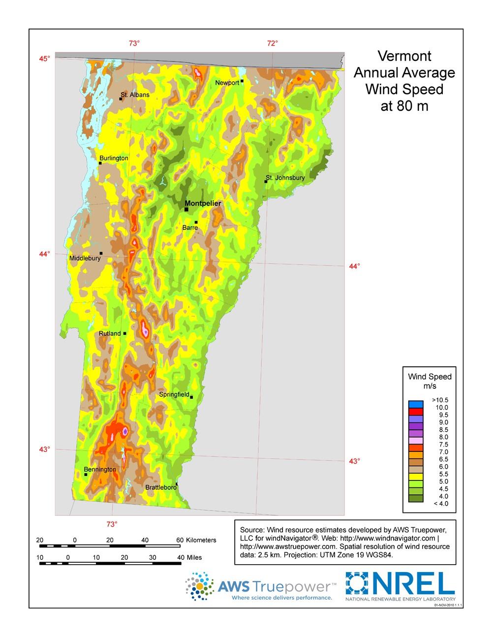 WINDExchange Wind Energy In Vermont - Maps of vermont
