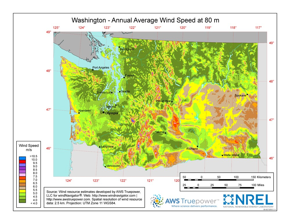 Washington State Map Seattle.Windexchange Washington 80 Meter Wind Resource Map