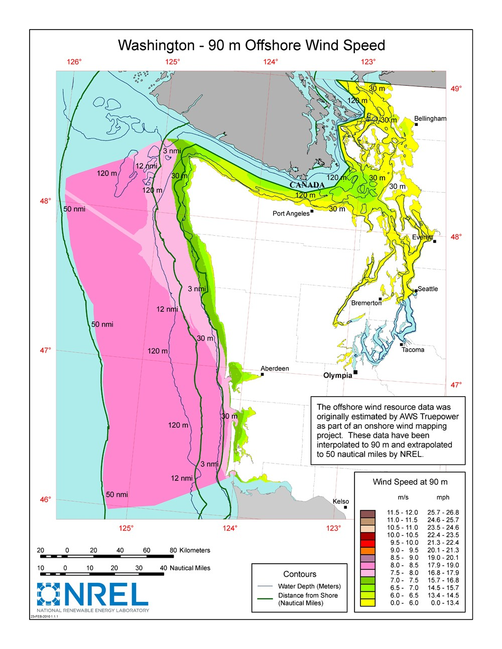 washington offs 90 meter wind map and wind resource potential