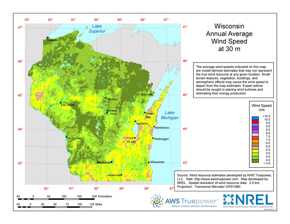 WINDExchange Wisconsin Meter ResidentialScale Wind Resource Map - Map wisconsin