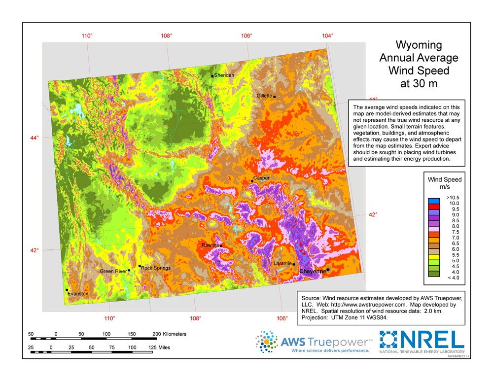 WINDExchange: Wyoming 30-Meter Residential-Scale Wind Resource Map