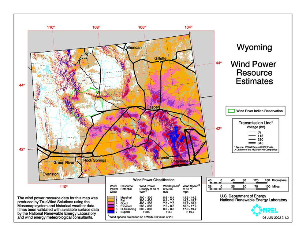 Wyoming wind resource map.